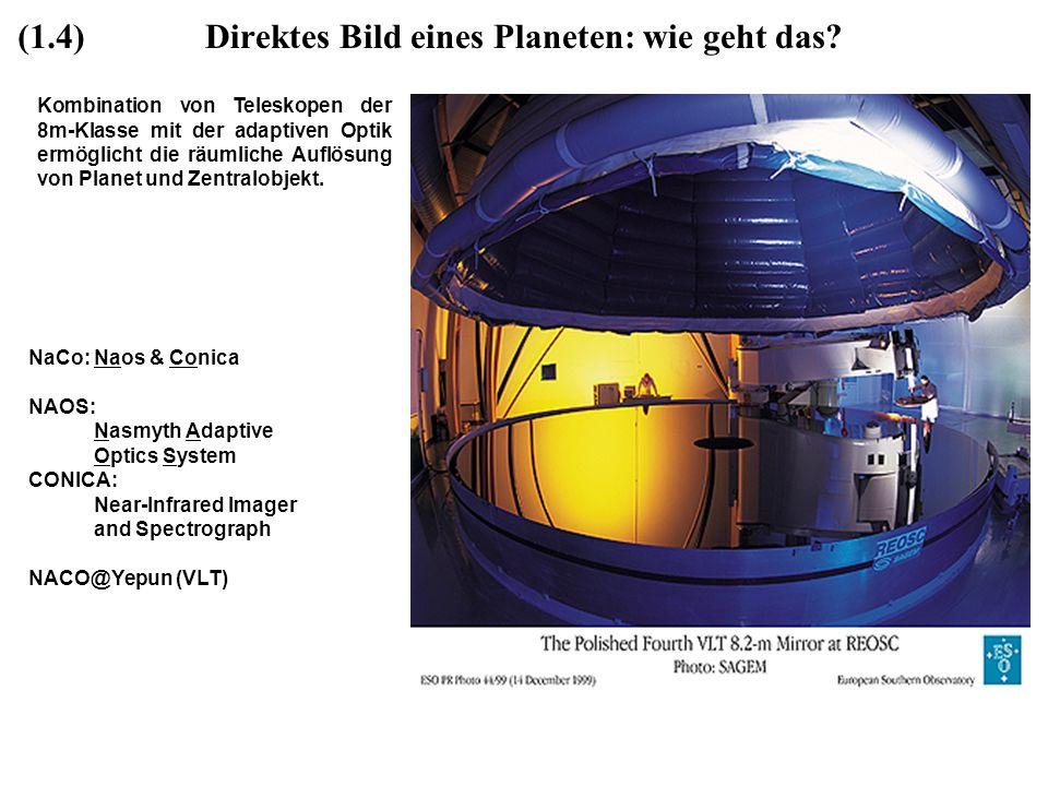 Direktes Bild eines Planeten: wie geht das? Kombination von Teleskopen der 8m-Klasse mit der adaptiven Optik ermöglicht die räumliche Auflösung von Pl