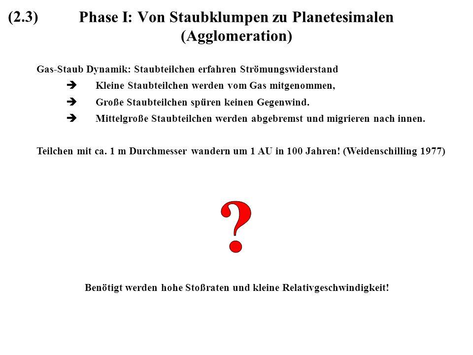 Phase I: Von Staubklumpen zu Planetesimalen (Agglomeration) Gas-Staub Dynamik: Staubteilchen erfahren Strömungswiderstand Kleine Staubteilchen werden