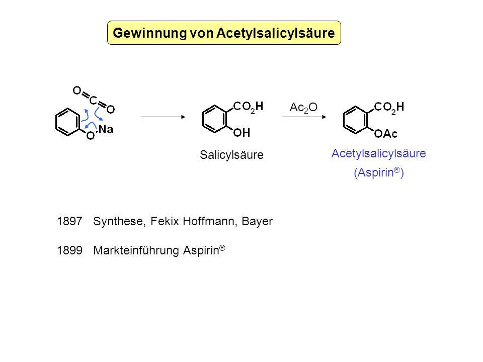 Gewinnung von Acetylsalicylsäure Ac 2 O Acetylsalicylsäure (Aspirin ® ) Salicylsäure 1897 Synthese, Fekix Hoffmann, Bayer 1899 Markteinführung Aspirin