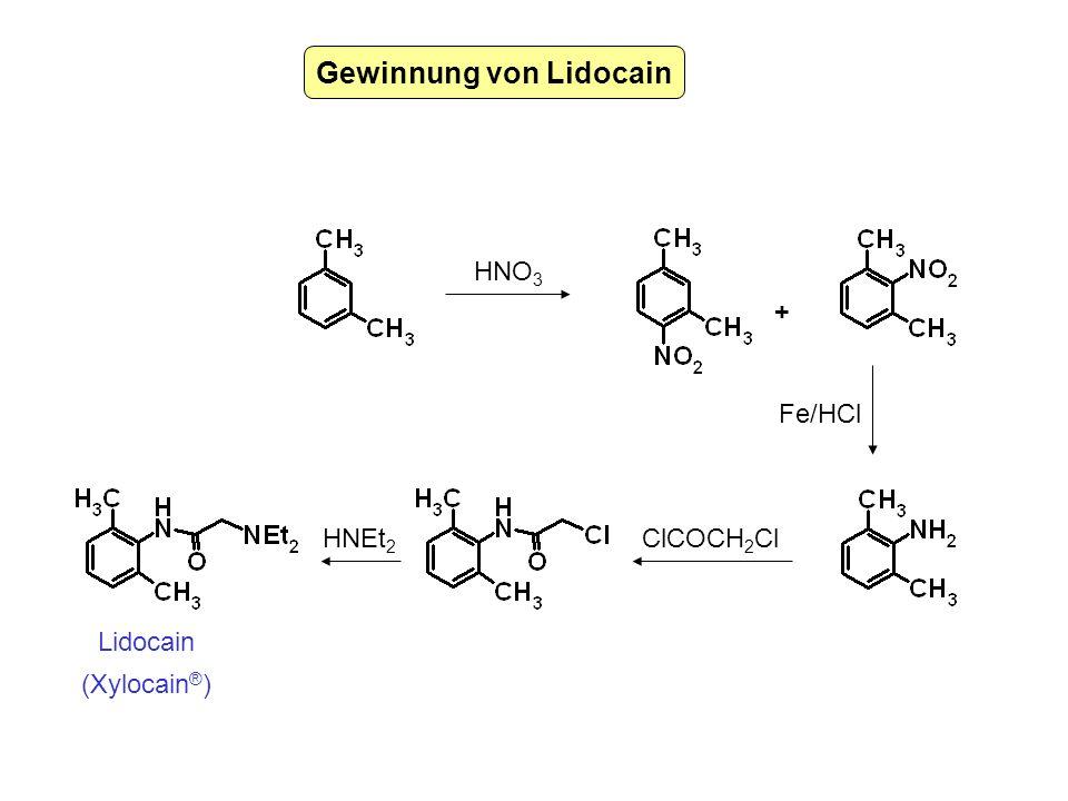 Gewinnung von Lidocain HNO 3 Fe/HCl ClCOCH 2 ClHNEt 2 + Lidocain (Xylocain ® )