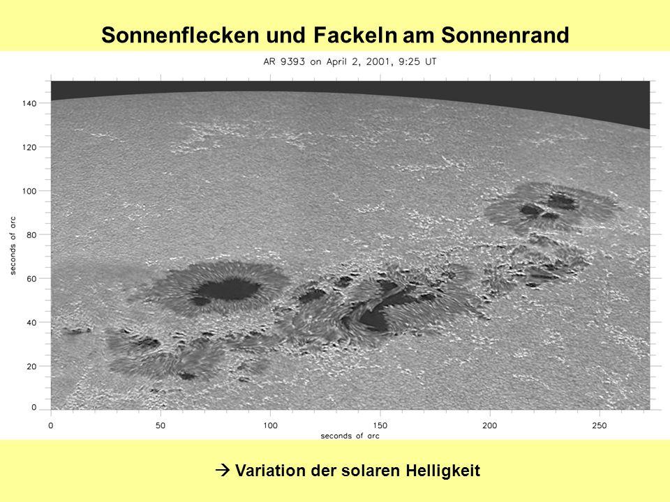 Sonnenflecken und Fackeln am Sonnenrand Variation der solaren Helligkeit