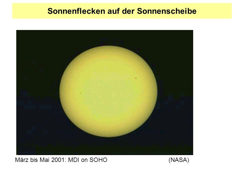Sonnenflecken auf der Sonnenscheibe März bis Mai 2001: MDI on SOHO(NASA)