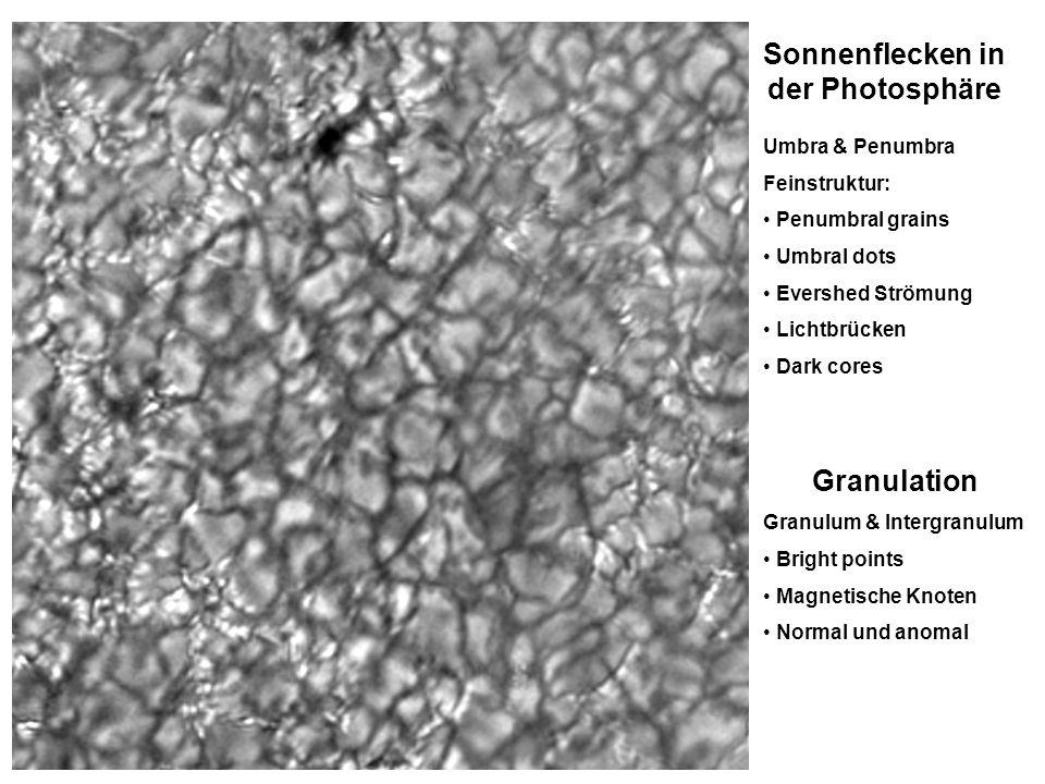 Sonnenflecken in der Photosphäre Umbra & Penumbra Feinstruktur: Penumbral grains Umbral dots Evershed Strömung Lichtbrücken Dark cores Granulation Gra