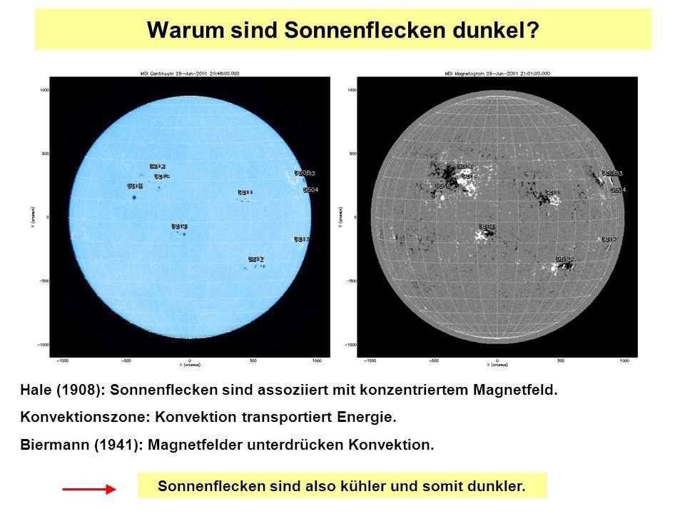 Warum sind Sonnenflecken dunkel? Hale (1908): Sonnenflecken sind assoziiert mit konzentriertem Magnetfeld. Konvektionszone: Konvektion transportiert E