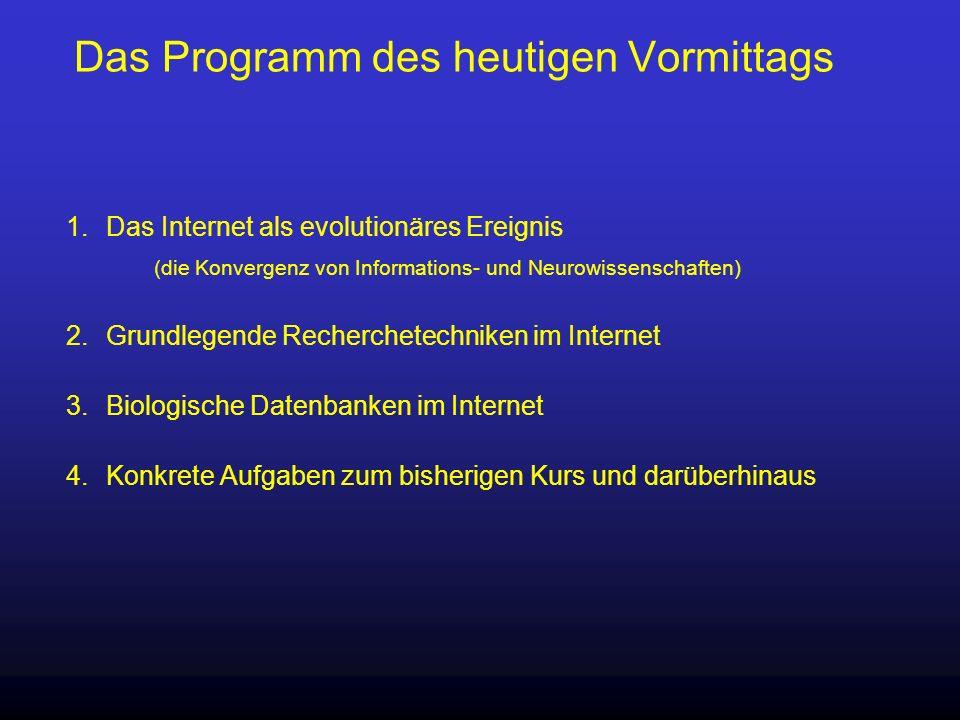 Das Programm des heutigen Vormittags 1.Das Internet als evolutionäres Ereignis (die Konvergenz von Informations- und Neurowissenschaften) 2.Grundlegen