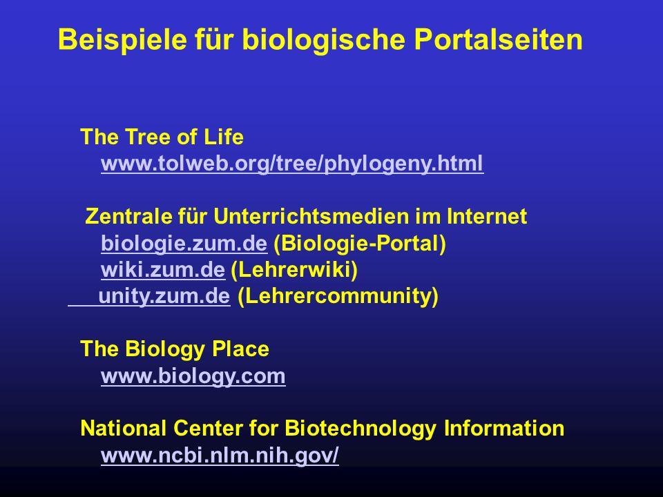 Beispiele für biologische Portalseiten The Tree of Life www.tolweb.org/tree/phylogeny.html Zentrale für Unterrichtsmedien im Internet biologie.zum.deb