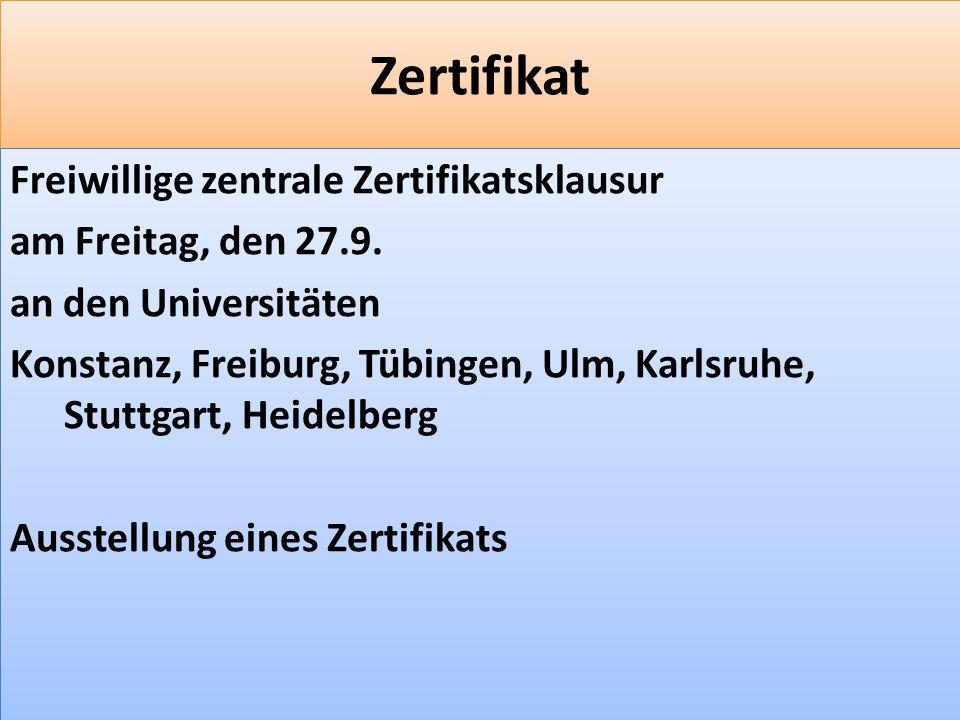 F 11 Zertifikat Freiwillige zentrale Zertifikatsklausur am Freitag, den 27.9.