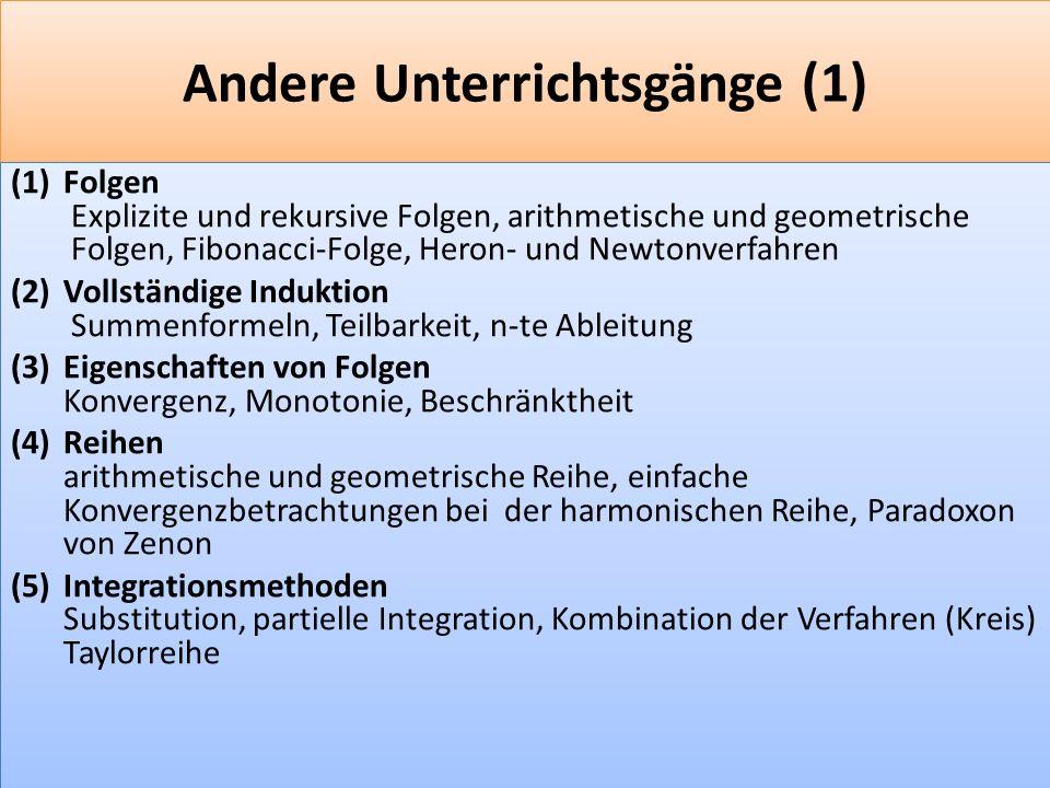 F 16 Andere Unterrichtsgänge (1) (1)Folgen Explizite und rekursive Folgen, arithmetische und geometrische Folgen, Fibonacci-Folge, Heron- und Newtonverfahren (2)Vollständige Induktion Summenformeln, Teilbarkeit, n-te Ableitung (3)Eigenschaften von Folgen Konvergenz, Monotonie, Beschränktheit (4)Reihen arithmetische und geometrische Reihe, einfache Konvergenzbetrachtungen bei der harmonischen Reihe, Paradoxon von Zenon (5)Integrationsmethoden Substitution, partielle Integration, Kombination der Verfahren (Kreis) Taylorreihe (1)Folgen Explizite und rekursive Folgen, arithmetische und geometrische Folgen, Fibonacci-Folge, Heron- und Newtonverfahren (2)Vollständige Induktion Summenformeln, Teilbarkeit, n-te Ableitung (3)Eigenschaften von Folgen Konvergenz, Monotonie, Beschränktheit (4)Reihen arithmetische und geometrische Reihe, einfache Konvergenzbetrachtungen bei der harmonischen Reihe, Paradoxon von Zenon (5)Integrationsmethoden Substitution, partielle Integration, Kombination der Verfahren (Kreis) Taylorreihe