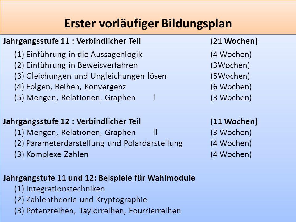 F 2 Erster vorläufiger Bildungsplan Jahrgangsstufe 11 : Verbindlicher Teil (21 Wochen) (1) Einführung in die Aussagenlogik (4 Wochen) (2) Einführung in Beweisverfahren(3Wochen) (3) Gleichungen und Ungleichungen lösen(5Wochen) (4) Folgen, Reihen, Konvergenz(6 Wochen) (5) Mengen, Relationen, Graphen l(3 Wochen) Jahrgangsstufe 12 : Verbindlicher Teil (11 Wochen) (1) Mengen, Relationen, Graphen ll(3 Wochen) (2) Parameterdarstellung und Polardarstellung(4 Wochen) (3) Komplexe Zahlen(4 Wochen) Jahrgangstufe 11 und 12: Beispiele für Wahlmodule (1) Integrationstechniken (2) Zahlentheorie und Kryptographie (3) Potenzreihen, Taylorreihen, Fourrierreihen Jahrgangsstufe 11 : Verbindlicher Teil (21 Wochen) (1) Einführung in die Aussagenlogik (4 Wochen) (2) Einführung in Beweisverfahren(3Wochen) (3) Gleichungen und Ungleichungen lösen(5Wochen) (4) Folgen, Reihen, Konvergenz(6 Wochen) (5) Mengen, Relationen, Graphen l(3 Wochen) Jahrgangsstufe 12 : Verbindlicher Teil (11 Wochen) (1) Mengen, Relationen, Graphen ll(3 Wochen) (2) Parameterdarstellung und Polardarstellung(4 Wochen) (3) Komplexe Zahlen(4 Wochen) Jahrgangstufe 11 und 12: Beispiele für Wahlmodule (1) Integrationstechniken (2) Zahlentheorie und Kryptographie (3) Potenzreihen, Taylorreihen, Fourrierreihen