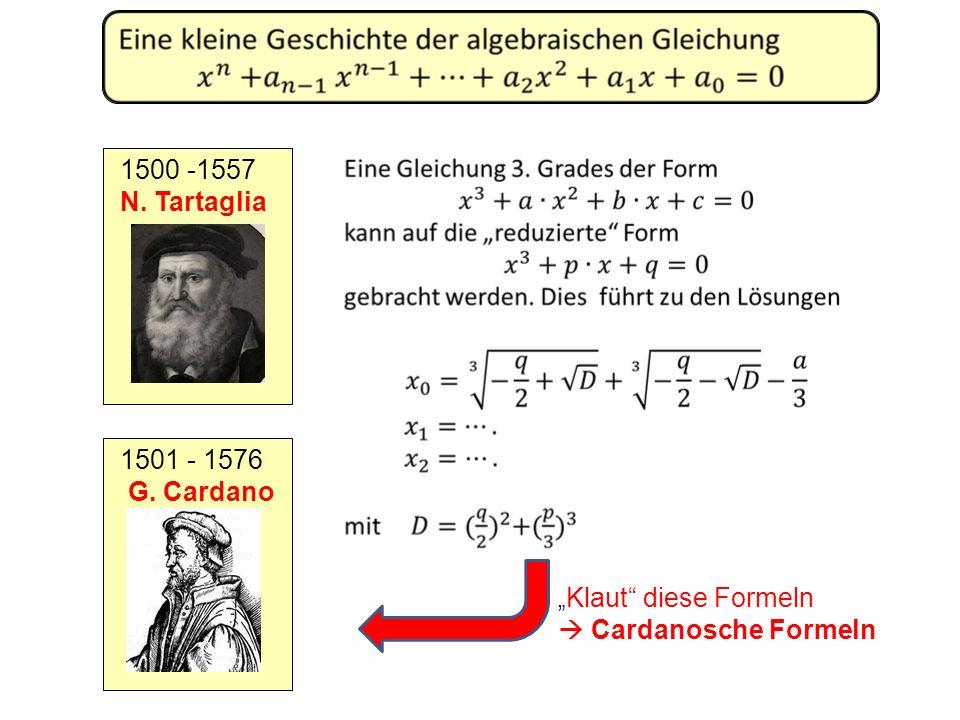 1500 -1557 N. Tartaglia 1501 - 1576 G. Cardano Klaut diese Formeln Cardanosche Formeln