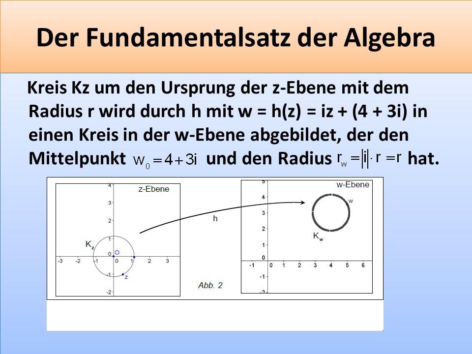 F 36 Der Fundamentalsatz der Algebra Kreis Kz um den Ursprung der z-Ebene mit dem Radius r wird durch h mit w = h(z) = iz + (4 + 3i) in einen Kreis in der w-Ebene abgebildet, der den Mittelpunkt und den Radius hat.