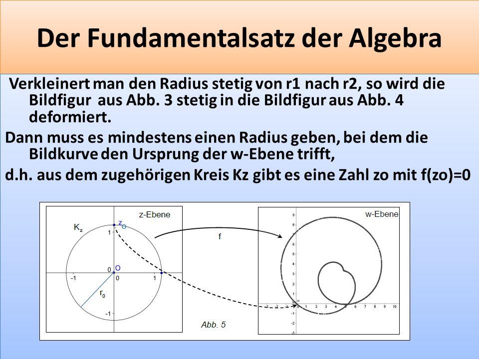 F 41 Der Fundamentalsatz der Algebra Verkleinert man den Radius stetig von r1 nach r2, so wird die Bildfigur aus Abb.
