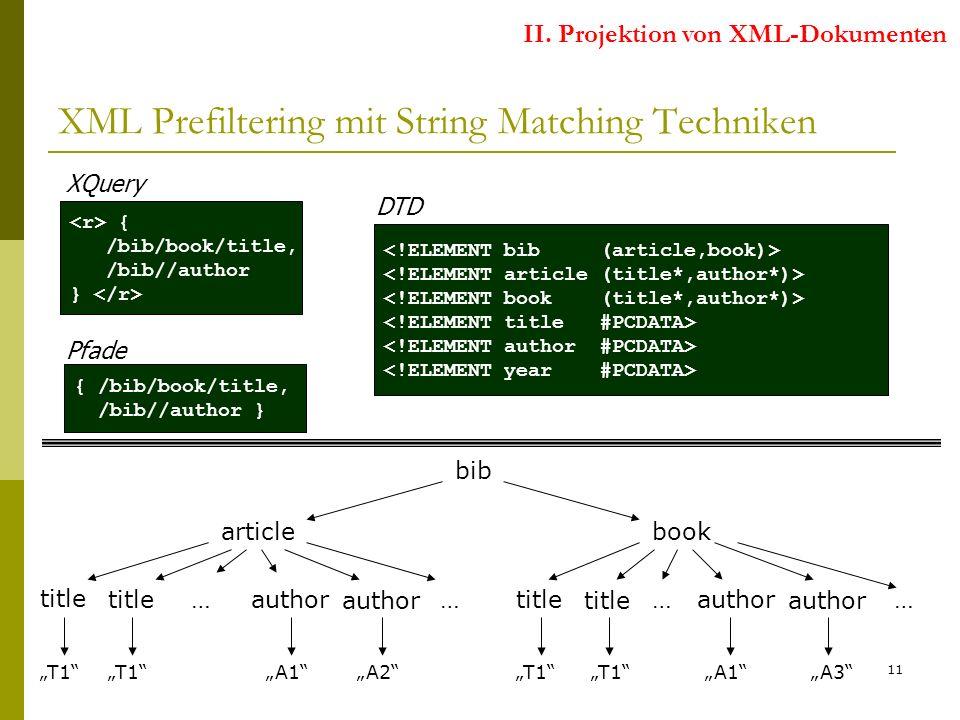 11 { /bib/book/title, /bib//author } XQuery Pfade { /bib/book/title, /bib//author } DTD XML Prefiltering mit String Matching Techniken II.