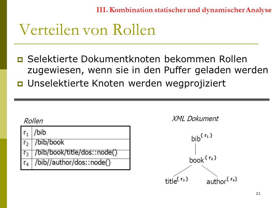 21 Selektierte Dokumentknoten bekommen Rollen zugewiesen, wenn sie in den Puffer geladen werden Unselektierte Knoten werden wegprojiziert bib book author title { r 1 } { r 2 } { r 4 }{ r 3 } r 1 /bib r 2 /bib/book r 3 /bib/book/title/dos::node() r 4 /bib//author/dos::node() XML Dokument Rollen Verteilen von Rollen III.