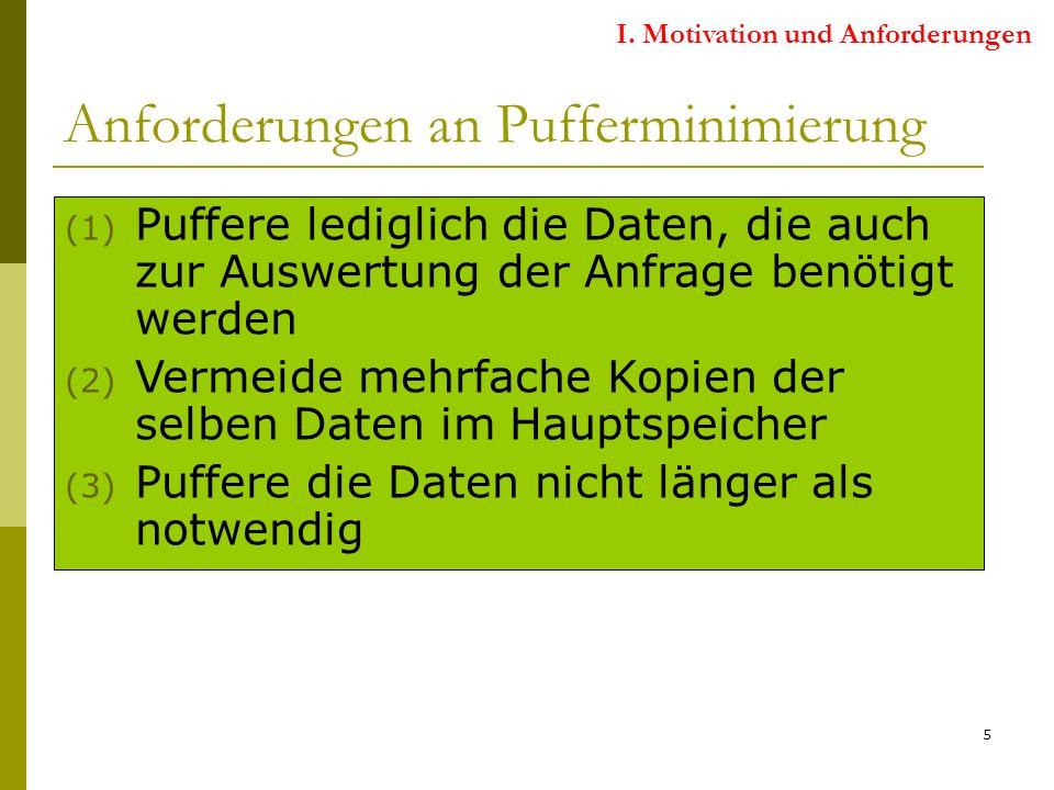 5 Anforderungen an Pufferminimierung (1) Puffere lediglich die Daten, die auch zur Auswertung der Anfrage benötigt werden (2) Vermeide mehrfache Kopien der selben Daten im Hauptspeicher (3) Puffere die Daten nicht länger als notwendig I.