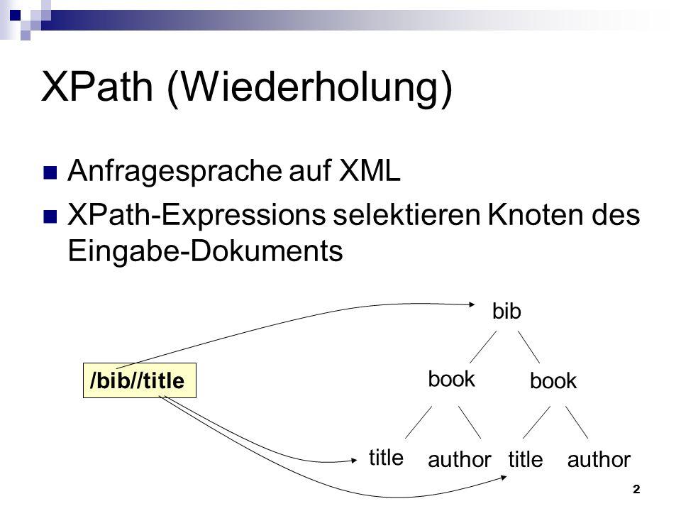 2 XPath (Wiederholung) Anfragesprache auf XML XPath-Expressions selektieren Knoten des Eingabe-Dokuments bib book title author /bib//title