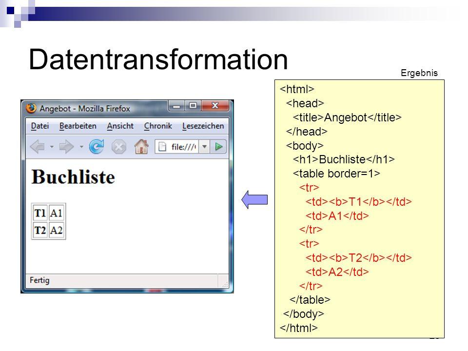 25 Datentransformation Angebot Buchliste T1 A1 T2 A2 Ergebnis