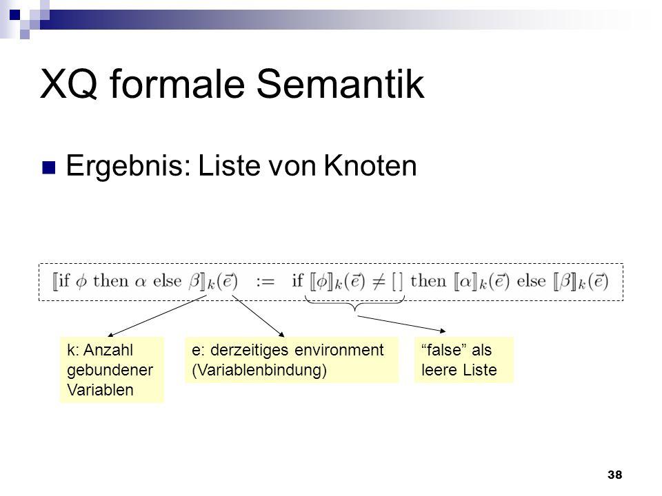 38 XQ formale Semantik k: Anzahl gebundener Variablen e: derzeitiges environment (Variablenbindung) false als leere Liste Ergebnis: Liste von Knoten