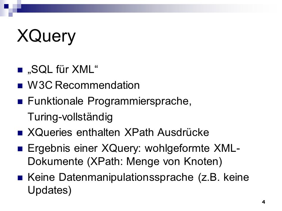 65 Literatur und Links Buch XQuery from the Experts, Addison Wesley (Kapitel 1) (Howard Katz, Don Chamberlin, Denise Draper, Mary Fernandez, Michael Kay, Jonathan Robie, Michael Rys, Jerome Simeon, Jim Tivy, Philip Wadler) http://www.datadirect.com/developer/xml/xquery/docs/katz_c01.pdf XQuery Tutorial: http://www.w3schools.com/xquery/default.asp W3C XQuery: http://www.w3.org/TR/2007/REC-xquery-20070123/ W3C XQuery Functions: http://www.w3.org/TR/xpath-functions/ Galax XQuery Engine (installiert in CIP-Pools): http://www.galaxquery.org/