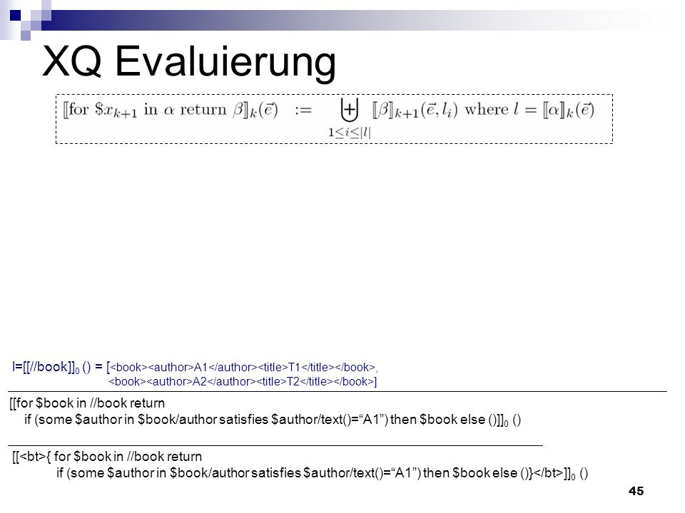 45 XQ Evaluierung [[ { for $book in //book return if (some $author in $book/author satisfies $author/text()=A1) then $book else ()} ]] 0 () [[for $boo