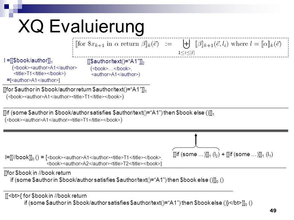 49 XQ Evaluierung l =[[$book/author]] 1 ( A1 T1 ) = [ A1 ] [[for $author in $book/author return $author/text()=A1]] 1 ( A1 T1 ) [[ { for $book in //bo