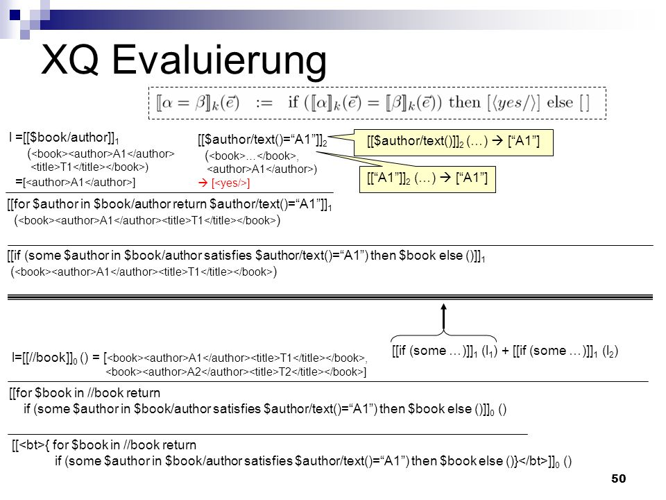 50 XQ Evaluierung [[$author/text()=A1]] 2 ( …, A1 ) [ ] l =[[$book/author]] 1 ( A1 T1 ) = [ A1 ] [[for $author in $book/author return $author/text()=A