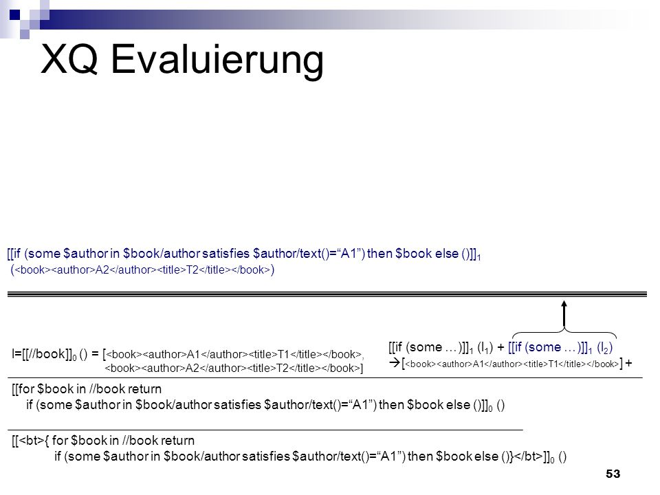 53 XQ Evaluierung [[ { for $book in //book return if (some $author in $book/author satisfies $author/text()=A1) then $book else ()} ]] 0 () [[for $boo