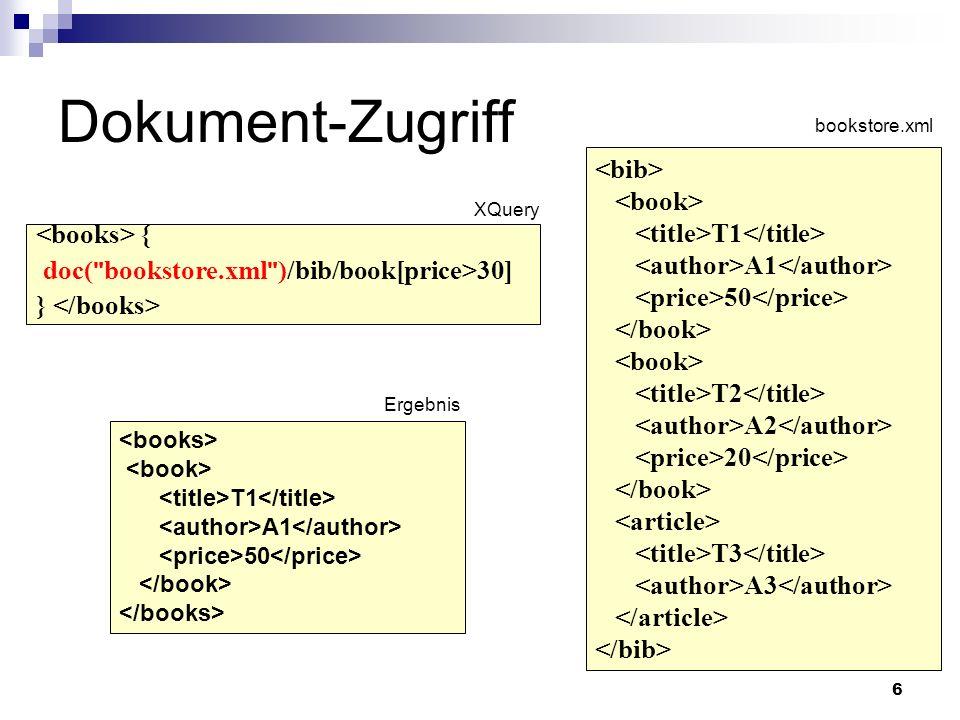 27 XQ – ein XQuery Fragment query ::= Ɛ | query | query query | var | var/axis::v | for var in var/axis::v return query | if cond then query else query cond ::= var = var | var = | true | some var in var/axis::v satisfies cond | cond and cond | cond or cond | not cond Syntax Composition-free XQ