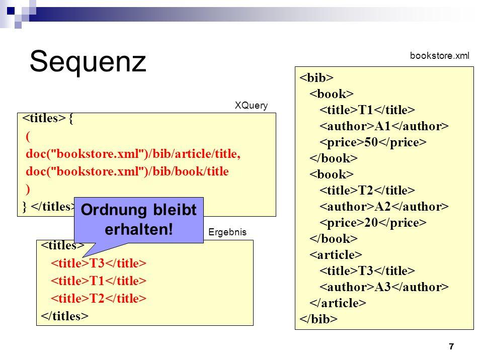 18 XQuery Joins Vergleich unterschiedlicher Teile des Eingabe- Dokuments Auch Joins zwischen verschiedenen Dokumenten möglich Im Gegensatz zu SQL-Joins, oftmals nicht leicht zu erkennen, da keine eigene Syntax (kein JOIN-Keyword) Optimierung der Auswertung von Joins durch herkömmliche und XML-spezifische Methoden