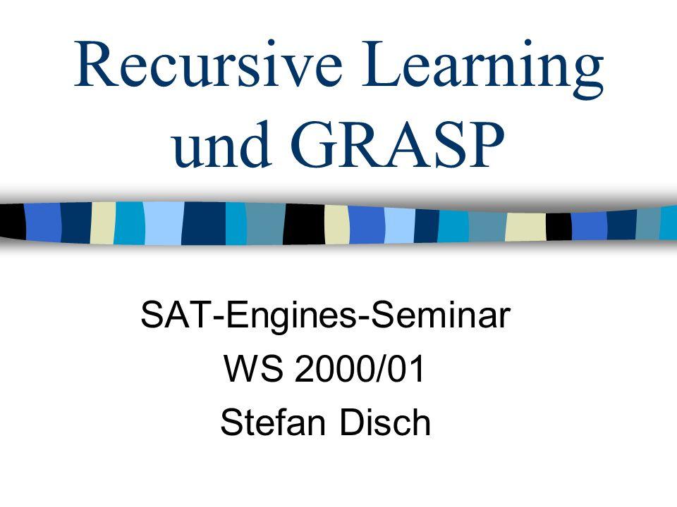 GRASP Die Suche (Prinzip) Der Suchprozeß durchläuft folgende Schritte iterativ: 1.