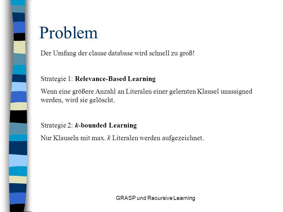 GRASP und Recursive Learning Beispiel: Assignments: Klauseln (CNF): Es folgt: neue Klausel: (Lernschritt)