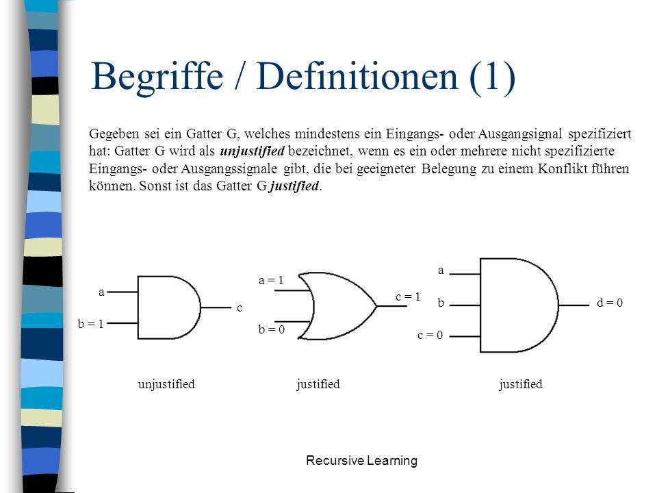 Recursive Learning Begriffe / Definitionen (1) Gegeben sei ein Gatter G, welches mindestens ein Eingangs- oder Ausgangsignal spezifiziert hat: Gatter G wird als unjustified bezeichnet, wenn es ein oder mehrere nicht spezifizierte Eingangs- oder Ausgangssignale gibt, die bei geeigneter Belegung zu einem Konflikt führen können.