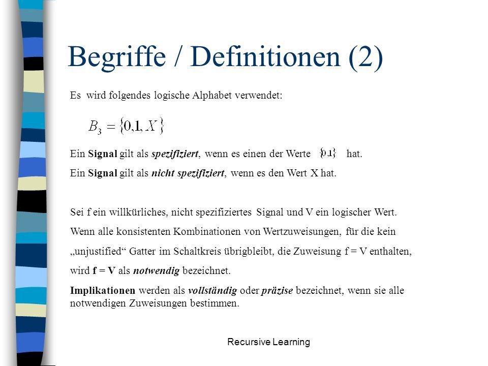 Recursive Learning Begriffe / Definitionen (1) Gegeben sei ein Gatter G, welches mindestens ein Eingangs- oder Ausgangsignal spezifiziert hat: Gatter