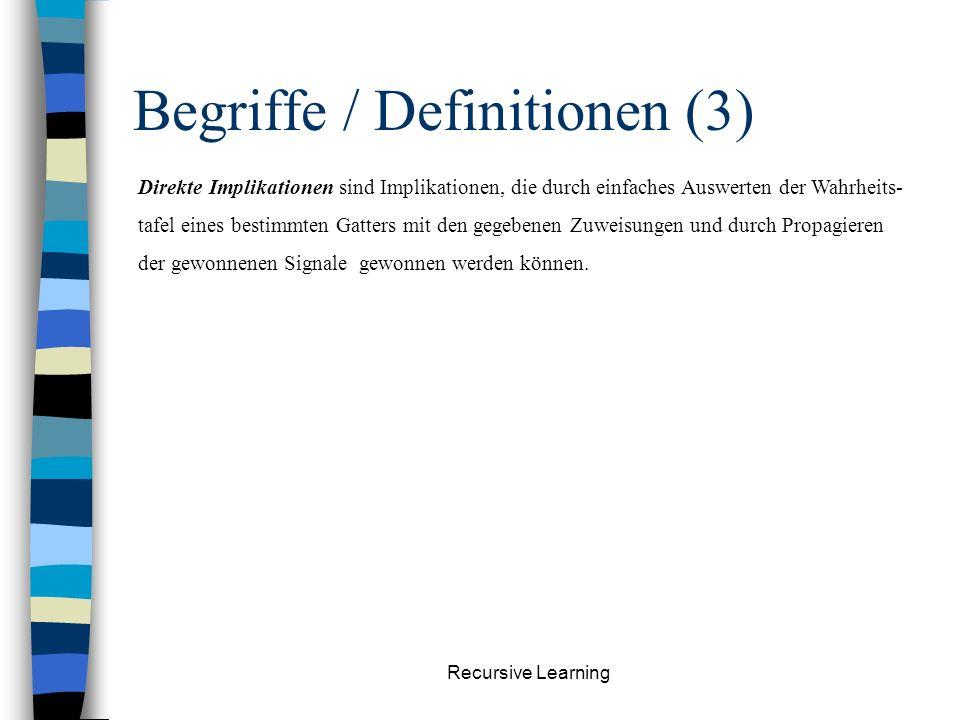Recursive Learning Begriffe / Definitionen (2) Es wird folgendes logische Alphabet verwendet: Ein Signal gilt als spezifiziert, wenn es einen der Wert