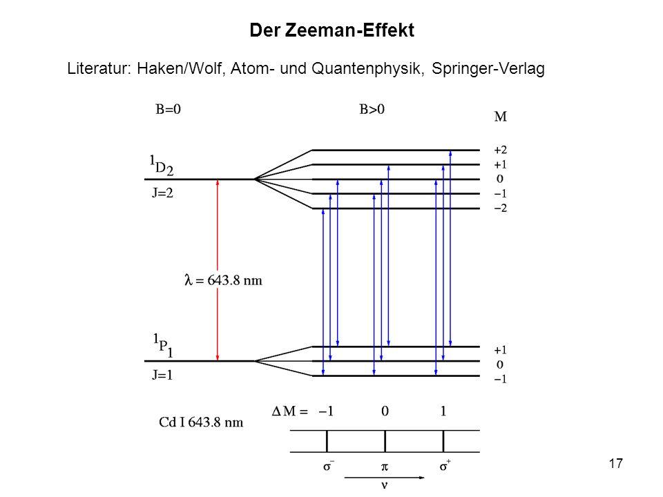 17 Der Zeeman-Effekt Literatur: Haken/Wolf, Atom- und Quantenphysik, Springer-Verlag