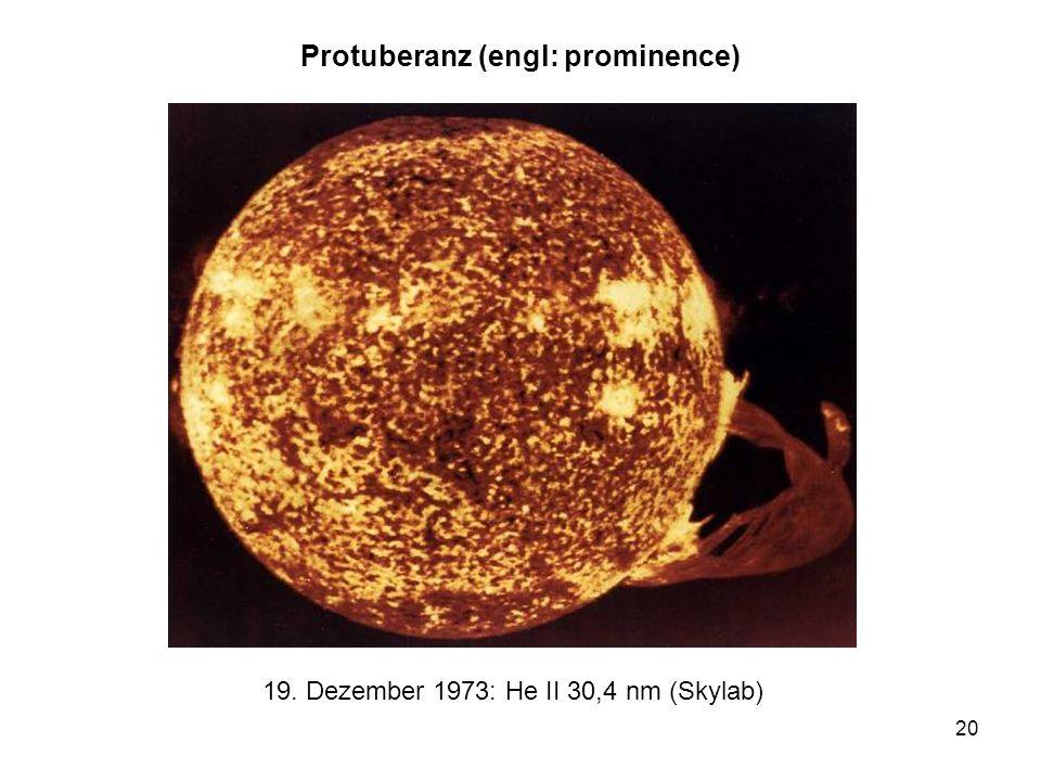 20 Protuberanz (engl: prominence) 19. Dezember 1973: He II 30,4 nm (Skylab)