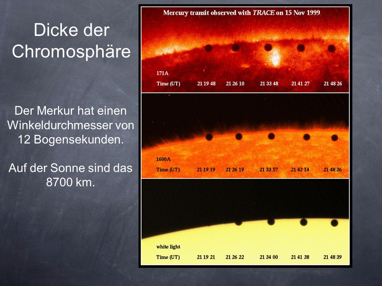 Dicke der Chromosphäre Der Merkur hat einen Winkeldurchmesser von 12 Bogensekunden.