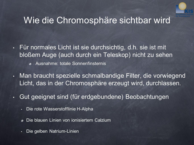 Wie die Chromosphäre sichtbar wird Für normales Licht ist sie durchsichtig, d.h.