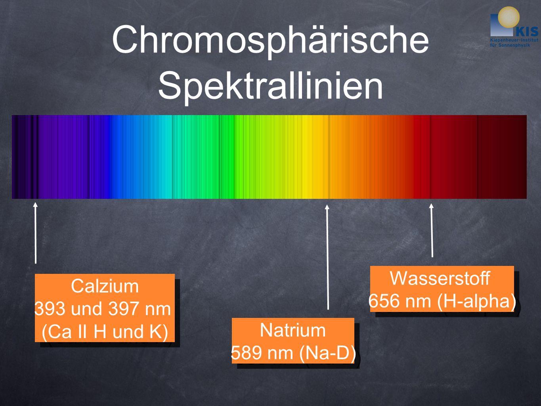 Chromosphärische Spektrallinien Wasserstoff 656 nm (H-alpha) Wasserstoff 656 nm (H-alpha) Natrium 589 nm (Na-D) Natrium 589 nm (Na-D) Calzium 393 und 397 nm (Ca II H und K) Calzium 393 und 397 nm (Ca II H und K)