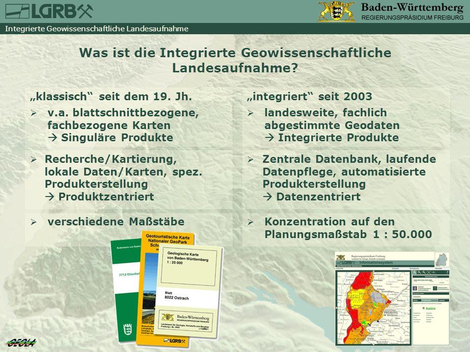 GeoLa- Produkte: Dienste Ziel ist die Vernetzung des LGRB mit seinen Partnern über WEB-Dienste Zum Beispiel: im GeoPortal Baden- Württemberg bundesweite Diensteübersicht der GIW: http://www.geomonitor.de in der Bohrpunkt karte Deutschland der BGR im GisInfoService des ISTE