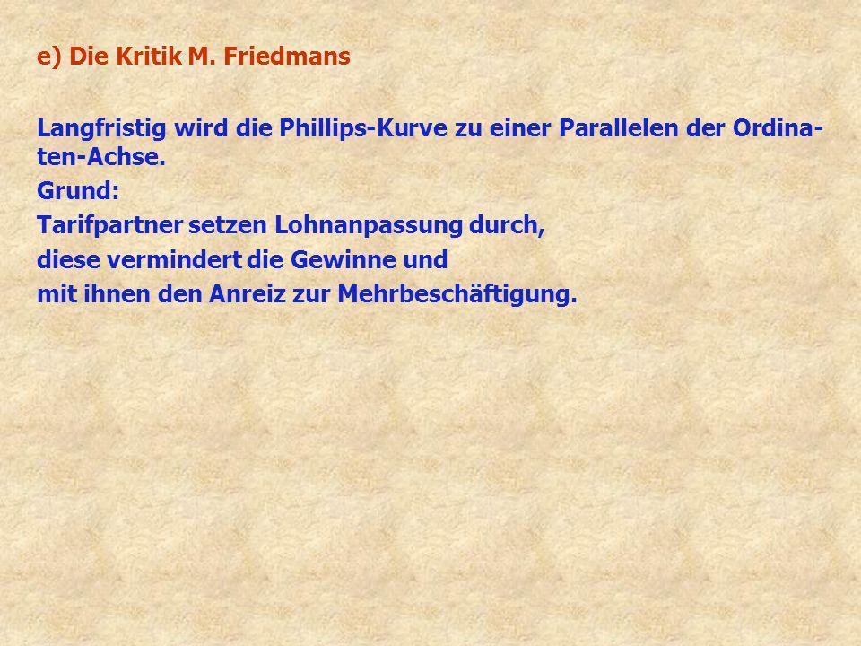 e) Die Kritik M. Friedmans Langfristig wird die Phillips-Kurve zu einer Parallelen der Ordina- ten-Achse. Grund: Tarifpartner setzen Lohnanpassung dur