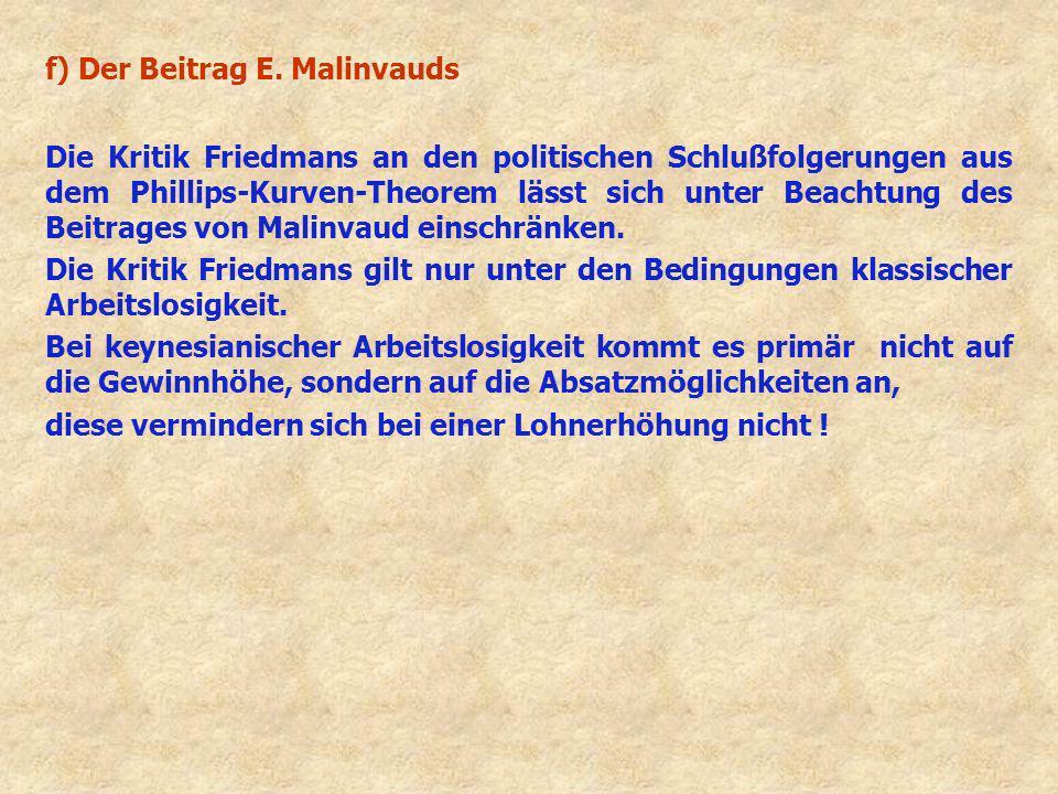 f) Der Beitrag E. Malinvauds Die Kritik Friedmans an den politischen Schlußfolgerungen aus dem Phillips-Kurven-Theorem lässt sich unter Beachtung des