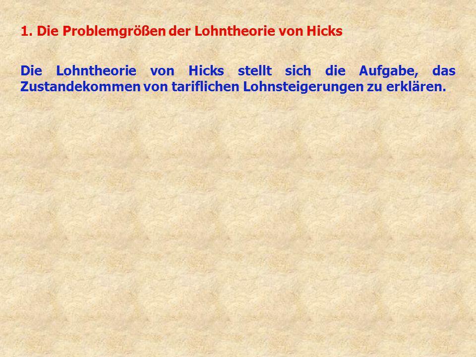 1. Die Problemgrößen der Lohntheorie von Hicks Die Lohntheorie von Hicks stellt sich die Aufgabe, das Zustandekommen von tariflichen Lohnsteigerungen