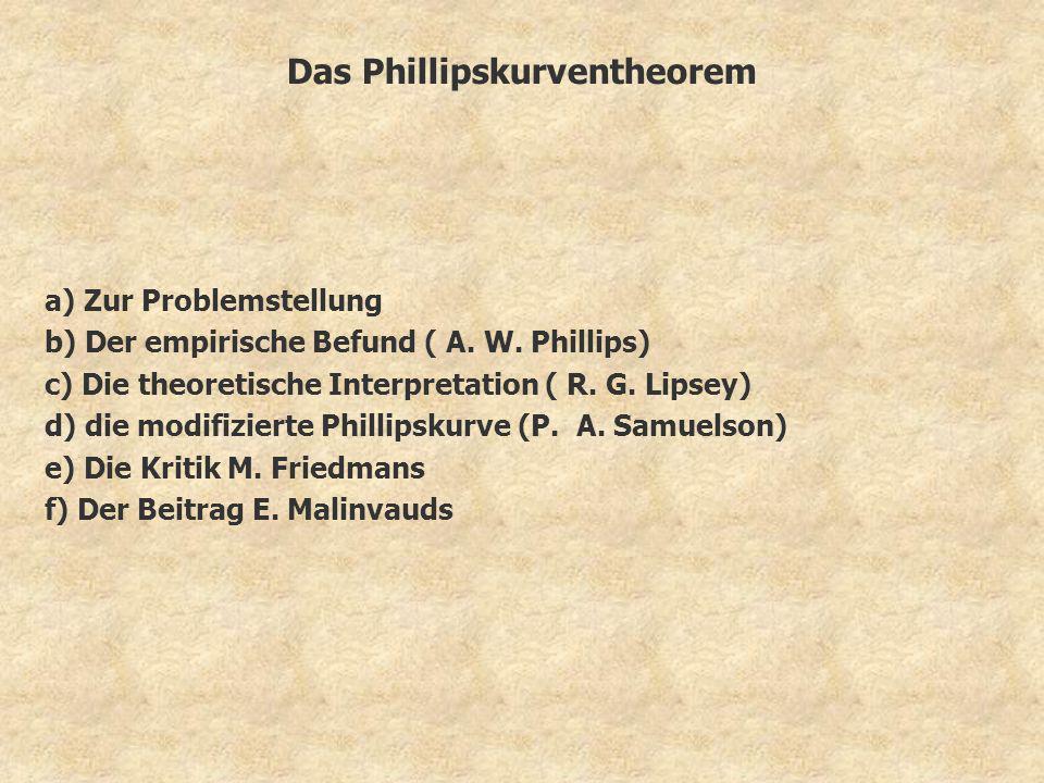 Das Phillipskurventheorem a) Zur Problemstellung b) Der empirische Befund ( A. W. Phillips) c) Die theoretische Interpretation ( R. G. Lipsey) d) die
