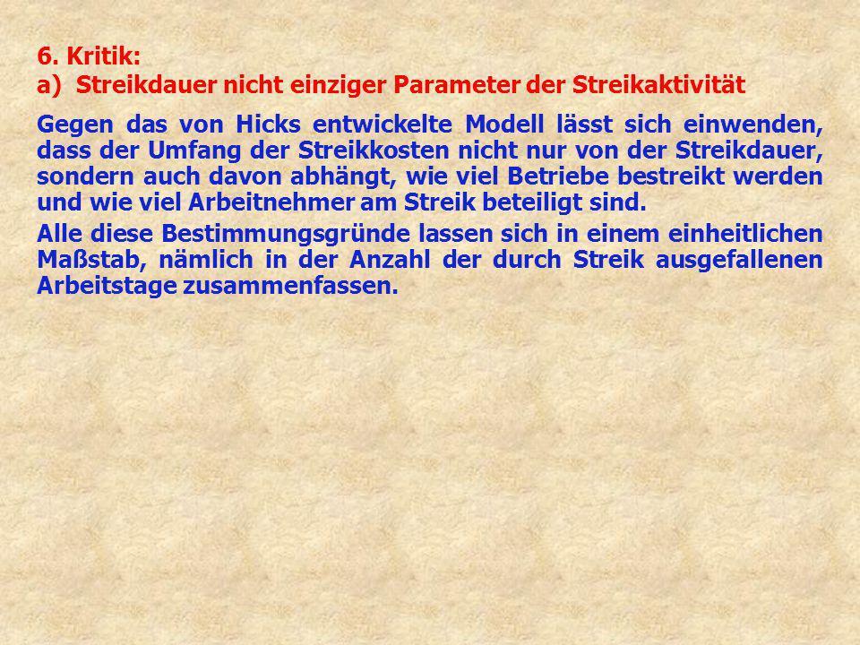 6. Kritik: a) Streikdauer nicht einziger Parameter der Streikaktivität Gegen das von Hicks entwickelte Modell lässt sich einwenden, dass der Umfang de