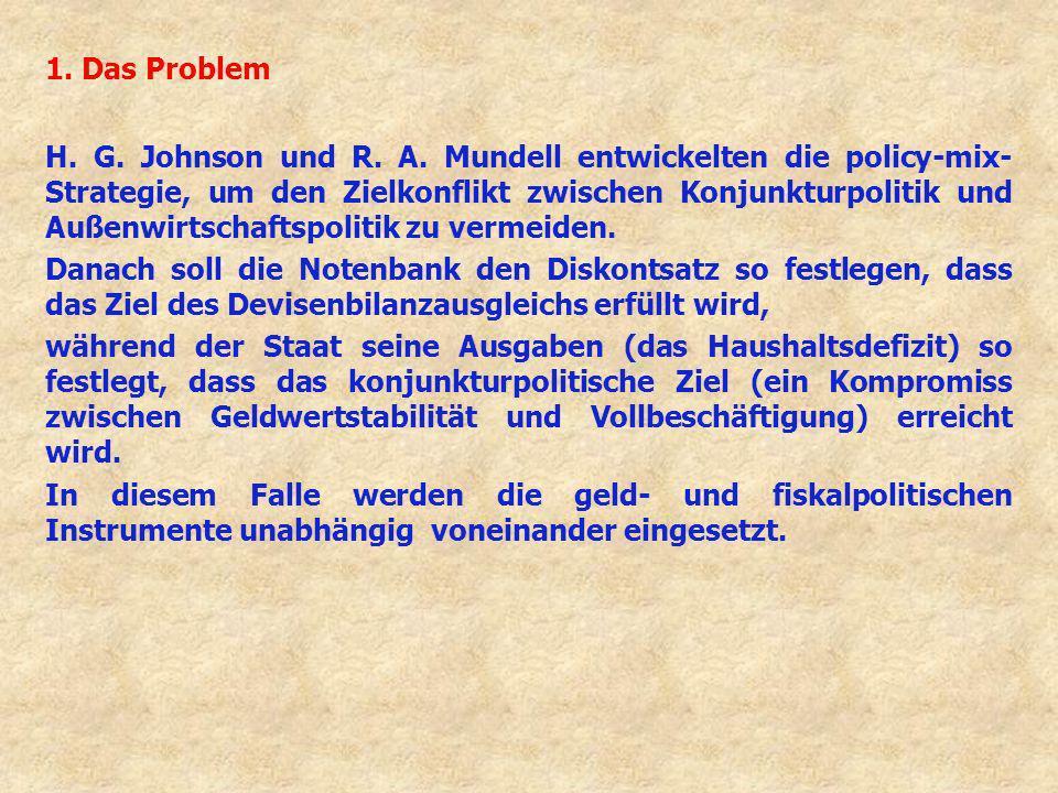 1. Das Problem H. G. Johnson und R. A. Mundell entwickelten die policy-mix- Strategie, um den Zielkonflikt zwischen Konjunkturpolitik und Außenwirtsch