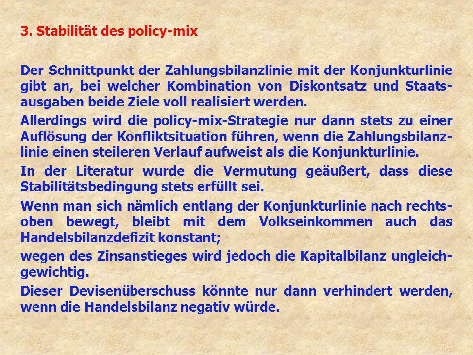 3. Stabilität des policy-mix Der Schnittpunkt der Zahlungsbilanzlinie mit der Konjunkturlinie gibt an, bei welcher Kombination von Diskontsatz und Sta