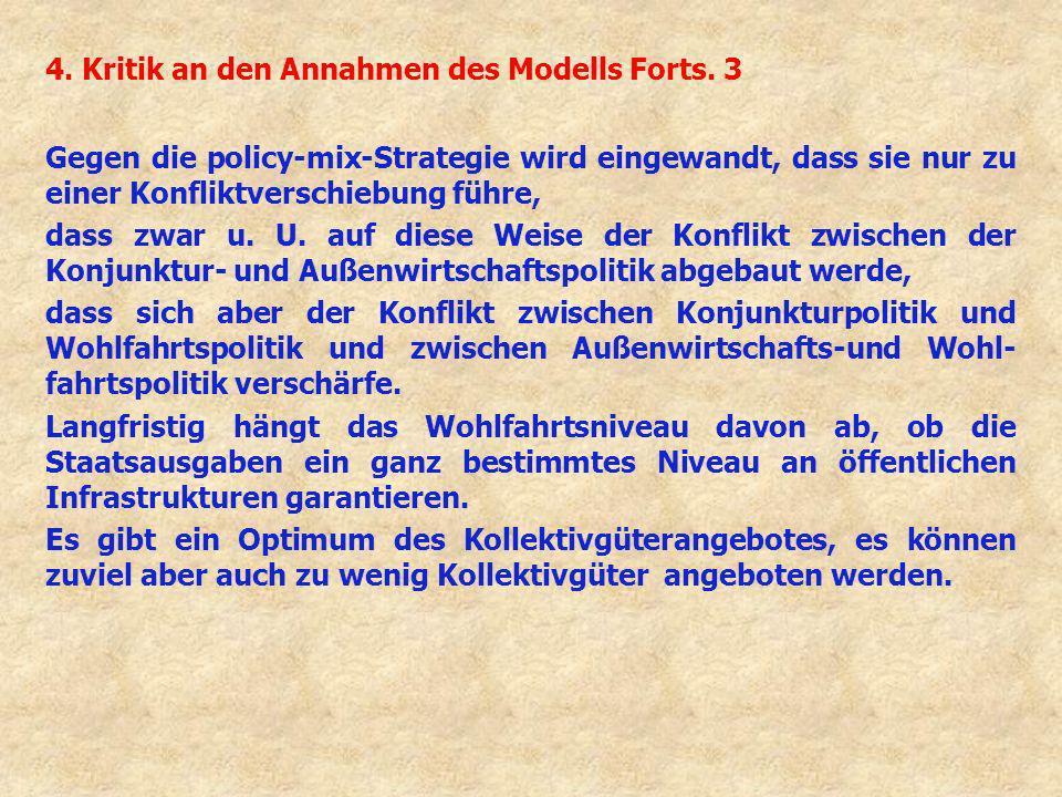 4. Kritik an den Annahmen des Modells Forts. 3 Gegen die policy-mix-Strategie wird eingewandt, dass sie nur zu einer Konfliktverschiebung führe, dass