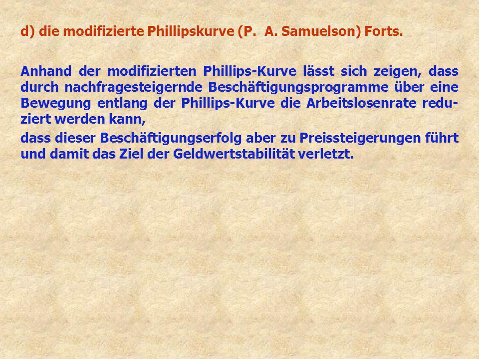 d) die modifizierte Phillipskurve (P. A. Samuelson) Forts. Anhand der modifizierten Phillips-Kurve lässt sich zeigen, dass durch nachfragesteigernde B
