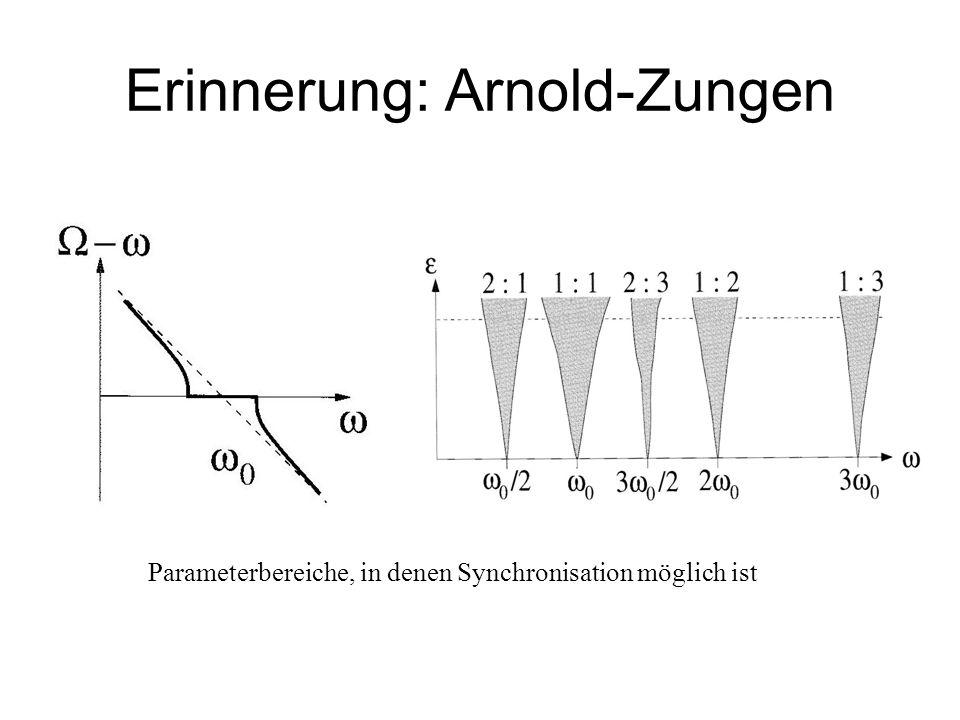 Erinnerung: Arnold-Zungen Parameterbereiche, in denen Synchronisation möglich ist